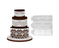 Daria Celebration Cake Stencils, 2 Swags, 1 Classic Border Style - 3 pack