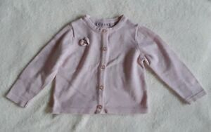 Baby Girl Knitted Button Up Cardigan Pink Age 6-9 Months Early Days Cotton