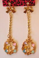 Betsey Johnson Crystal Rhinestone Enamel Alice in Wonderland Clock Post Earrings