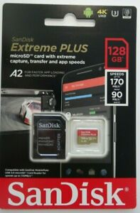 New SanDisk 128GB 170/90 Extreme Plus MicroSD card With Extreme Capture 4K UHD