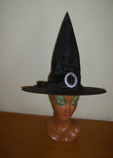 LADIES BLACK WITCH HAT WITH BUCKLE & BOW HALLOWEEN FANCY DRESS COSTUME NEW