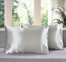2 NEW SOFT SILVER SILK FEEL CHARMEUSE SATIN HAIR CARE QUEEN STANDARD PILLOWCASES