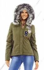 NEW Womens Hooded Faux Fur Parka Coat Ladies Khaki Jacket Size 8 10 12 14 16