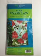 "Large House Flag 28""x 40"" Decorative Welcome Sign Flowers And Hummingbirds"