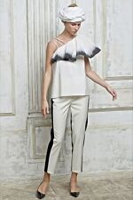 Vika Gazinskaya Monochrome dip-dye Ruffle Silk Top Size F 36 UK 10 US 6