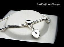 Beautiful Silver Rhinestone Love Heart Snake Chain Bracelet Bangle 20cm