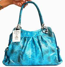 AUTHENTIC PYTHON SNAKE LEATHER HANDBAG SHOULDER BAG TOTE SHINY BLUE SOFT NEW