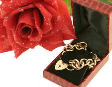 Panzer Armband bracelet England 1900 Rot-Gold 375 Herz Schloss heart lock süss