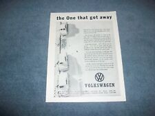 "1963 Volkswagen Bug Vintage Ad ""The One That Got Away"" VW Beetle"