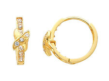 14K Yellow Gold Round CZ Huggies Earrings for Baby and Children