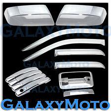 14-15 GMC Sierra 1500 Chrome Mirror+4 Door Handle+Tailgate Keyhole+Window Visor