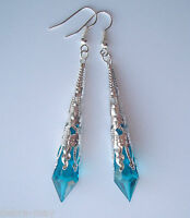 Beautiful Peacock Blue Faceted Teardrop Silver Filigree Drop Earrings - Gift Bag