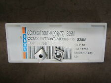 10 pcs SECO Carboloy CCMX 09T308T-MD09-77 Grade S25M Carbide Inserts EDP  11786