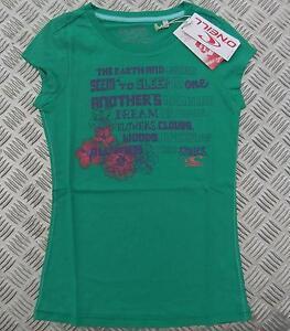 WOMEN'S O'NEILL GREEN FLOWER T-SHIRT SHORT SLEEVE SLIM FIT TEE TOP ladies girls