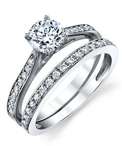 Cubic Zirconia Wedding Band Engagement Solitaire Ring  Sterling Silver