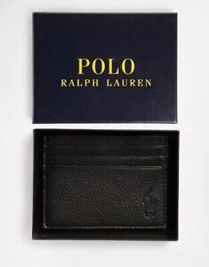 Polo Ralph Lauren Leather Credit Card Holder Wallet 6 Slots Black - Gift Box-NEW