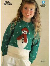 boys girls childrens christmas snowman jumper dk knitting pattern 99p