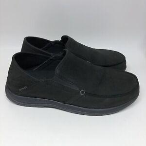 Crocs Santa Cruz Convertible Leather Slip-On Shoes Black Men's US Size 8