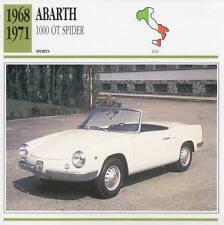 1968-1971 FIAT ABARTH 1000 OT Spider Sports Classic Car Photo/Info Maxi Card