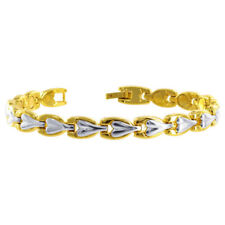 """Two Tone 8mm Wide Finish Magnetic Link Therapy Bracelet 8"""" with Fold over Clasps"""