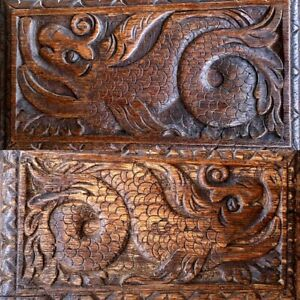 Pair Early 17thC Antique Carved Oak Panels Depicting Stylised Mythical Beasts