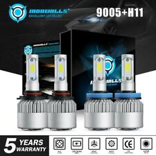 2 Pair 9005 + H11 Combo Total 4000W 600000LM LED Headlight Kit Light Bulbs 6000K