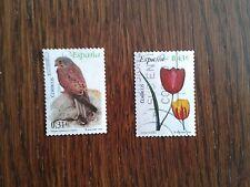 lote sellos usados, tulipán y cernícalo, serie flora y fauna año 2008.