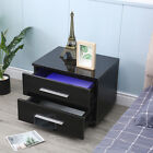 High+Gloss+Modern+Bedroom+Bedside+End+Table+W%2F+2+Drawers+LED+Lighting+Nightstand