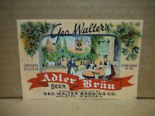 Adler Brau Irtp 12 Oz. Beer Label-Geo. Walter Brg.,Appleton,Wisconsin