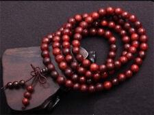 "Top Quality Tibetan 108 6mm Red Sandalwood Prayer Beads Mala Necklace -24"""