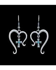 Montana Silversmiths Silver Hearts Open to Faith Crosses Dangle Earrings USA