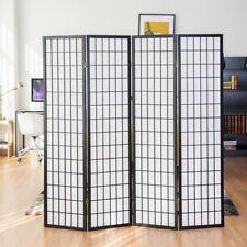 4 Panel Room Divider Folding Privacy Shoji Screen Pine Wood Frame Black