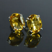 925 Sterling Silver 9x7 mm Oval Cut Natural Gemstone Yellow Citrine Stud Earring