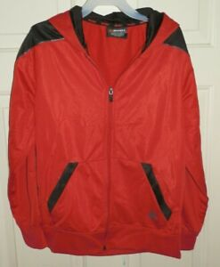 New Boys Large 10-12 Red Black AND1 Campionship Jacket Zippered Hood Pockets