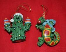 "Lot 2 Christmas Cactus & Lizard ? Ornaments New 3.5"" tall"