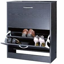 Black Wooden Shoe Storage Cabinet 2 Drawer Footwear Stand Rack Unit Cupboard