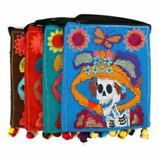Day of the Dead Sugar Skull Multicolored Floral Embroidered Stitch Pom Tassel To