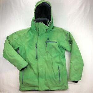 Salomon Brilliant Ski Jacket Mens Medium Green Full Zip Hooded Warm Insulated