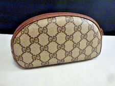GUCCI Vintage 80's Brown Monogram Cosmetic/Eyeglass Case  half moon