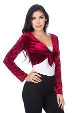 Fashion Secrets Women`s Front Knot Tie Velvet Bolero Shrug Cardigan Jacket Plus