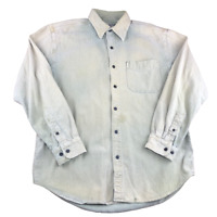 The Territory Ahead Distressed Long Sleeve Button Down Shirt, Size Large, Faded