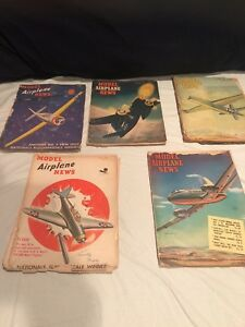 Vintage 1940s Model Airplane News Magazine Lot of 5