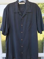 Tommy Bahama Men's Short Sleeve Silk Solid Black Collar Loop Casual Shirt Medium