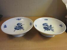 "2 Vintage Royal Copenhagen Denmark Blue White flower porcelain compote bowls 8"""