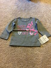 Carters Toddler Girls Gray Pink Ballerina Dance Your Heart Out Top 12 Months Nwt
