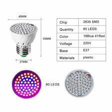 AC220V-240V E27 60 Led Grow Light Bulb Lamp for Plants Hydroponics Indoor Flower