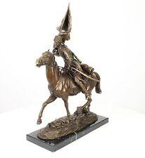 Bronzeskulptur russisches Motiv Pferd Mann Bronze Figur Kosak