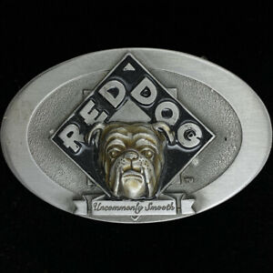 Bulldog Red dog Bull Dog Beer Miller Drinker Gift 90s NOS Vintage Belt Buckle