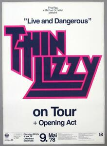 THIN LIZZY - rare vintage original 1978 LIVE AND DANGEROUS concert poster