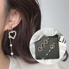 Asymmetry Pearl Tassel Earrings Women Love Heart Korea Crystal Drop Earrings